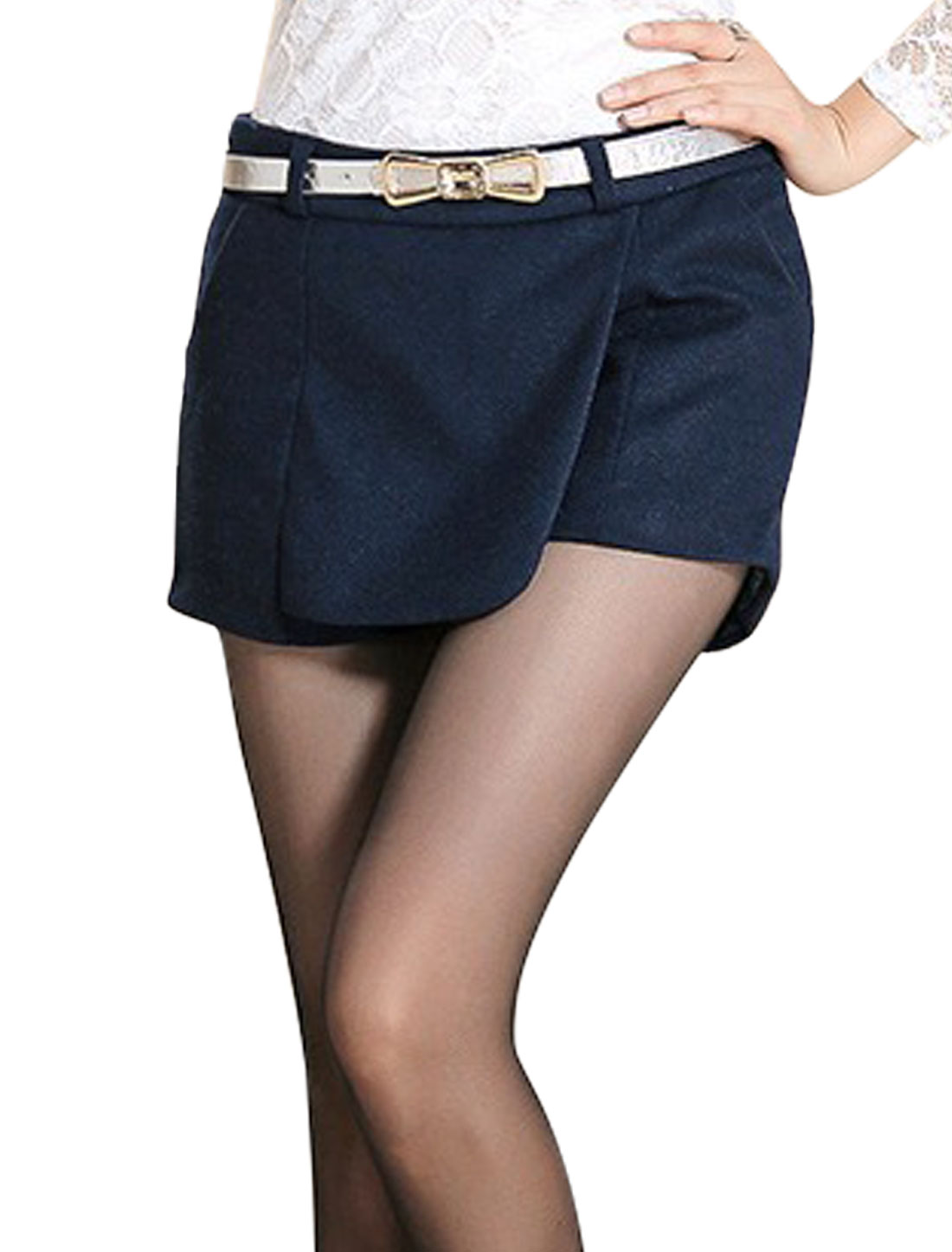 Lady Conceal Zipper Side Belt Loop Casual Shorts Navy Blue M