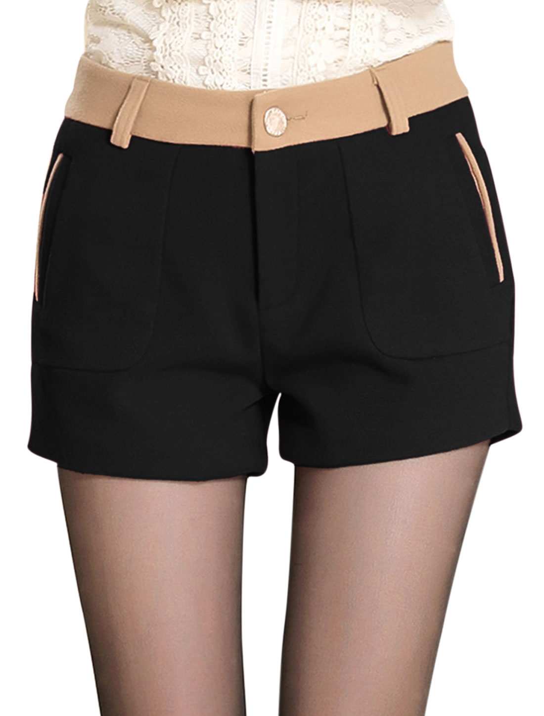 Lady Zip Fly Color Block Detail Fshion Casual Shorts Black M