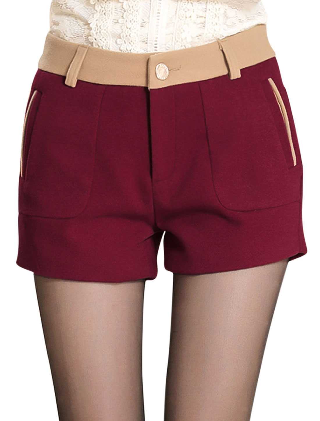 Ladies Mid Rise Color Block Detail Leisure Shorts Burgundy M
