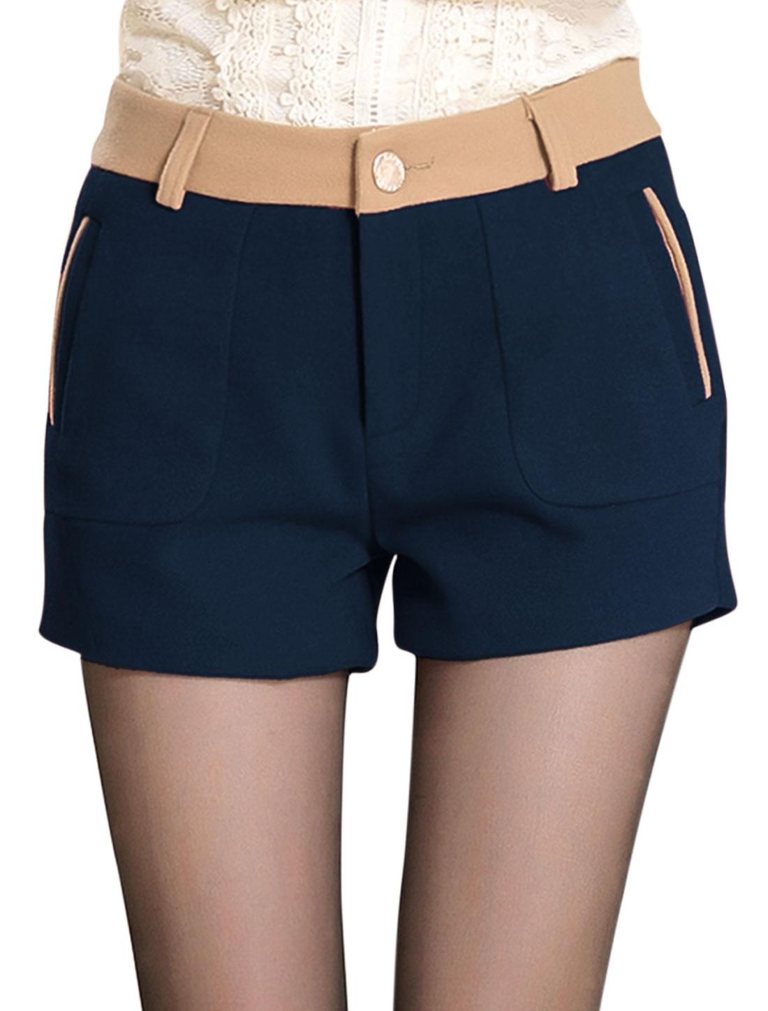 New Style Trendy Color Block Detail Casual Shorts for Lady Navy Blue M