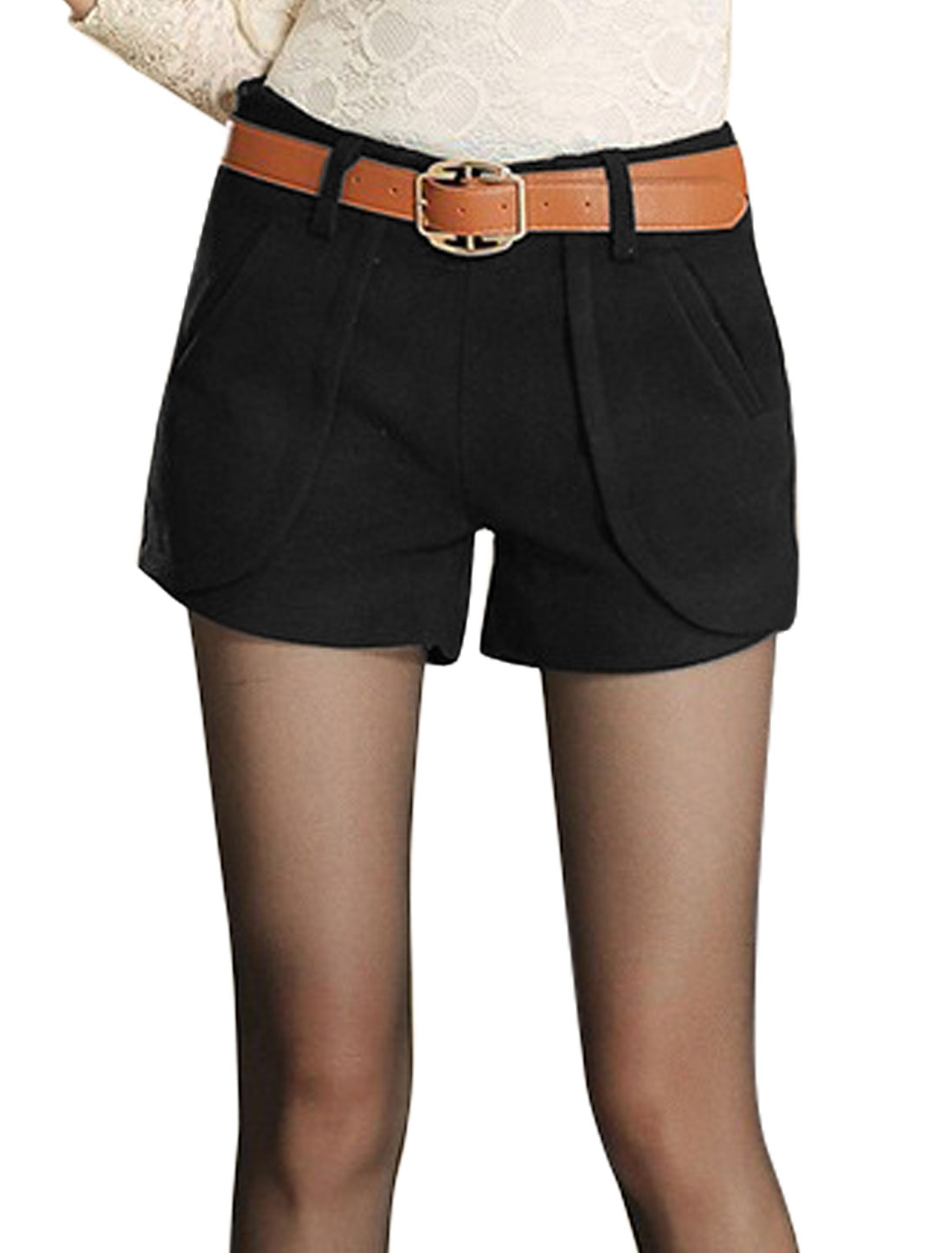 Ladies Black Mid Rise Belt Loop Zip Fly Splice Casual Short Pants M