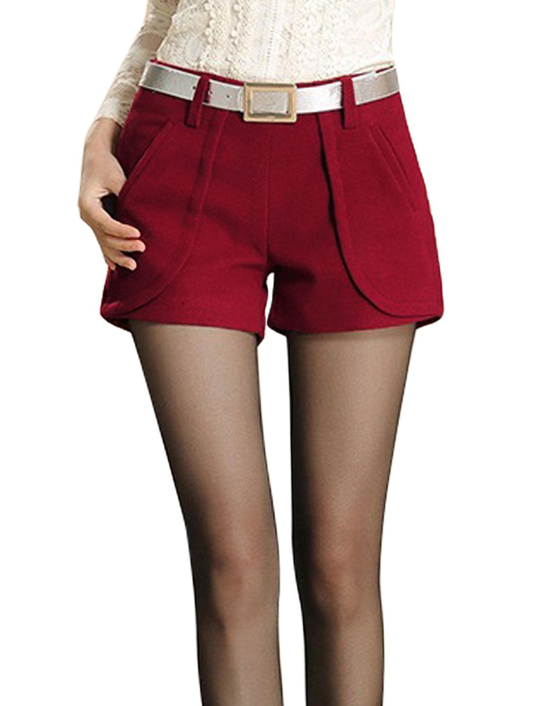 Ladies Burgundy Mid Rise Belt Loop Zip Closure Splice Leisure Short Pants M