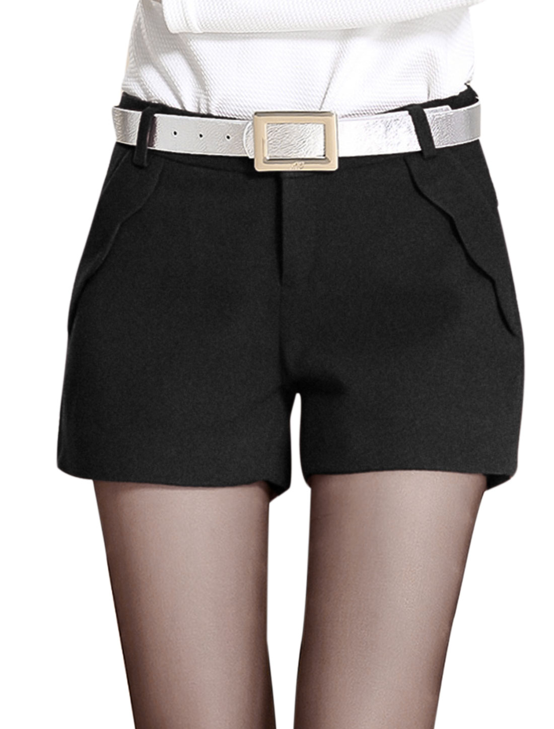 Lady One Button Closure Zip Fly Fashion Casual Shorts Black M