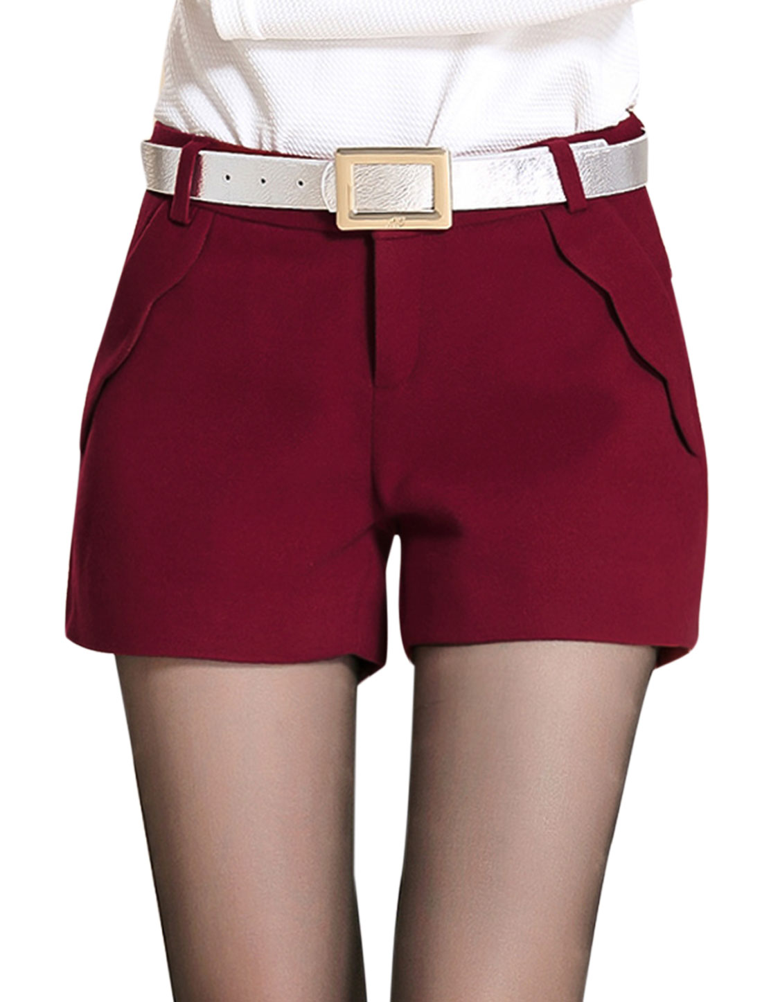 Lady Mid Rise Zip Fly Stylish Leisure Shorts Burgundy M