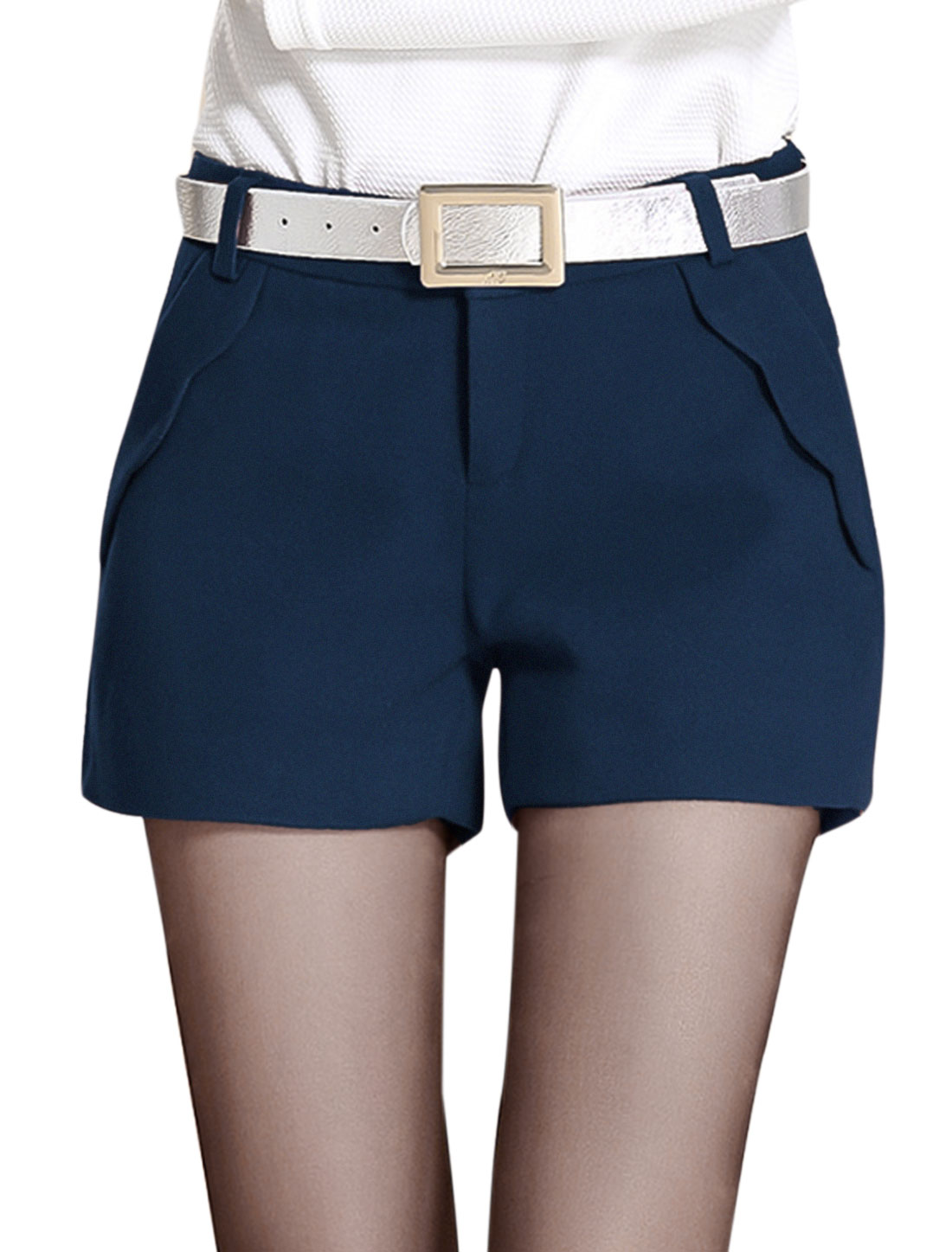 Casual Zip Fly Slant Pockets Front Fashion Shorts for Lady Navy Blue M