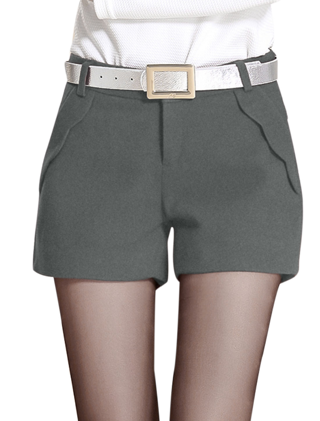 New Style Slant Pockets Front Casual Shorts for Lady Dark Gray M