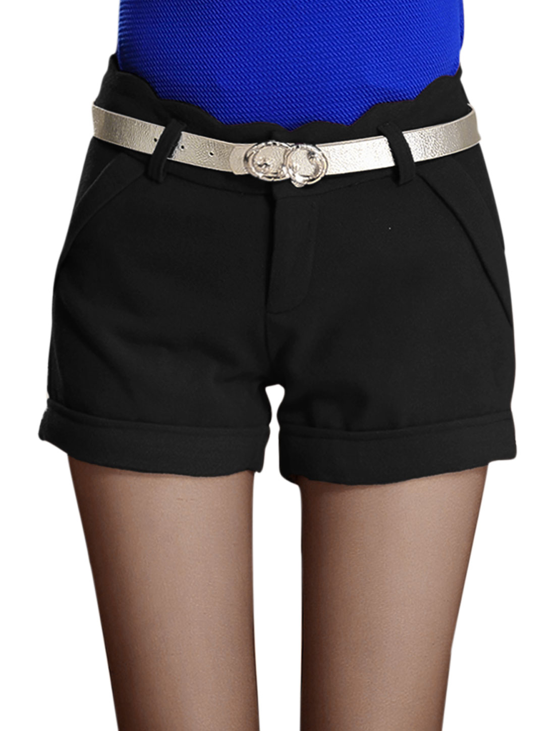Ladies Black Scalloped Waist Mid Rise Button Closure Casual Short Pants M