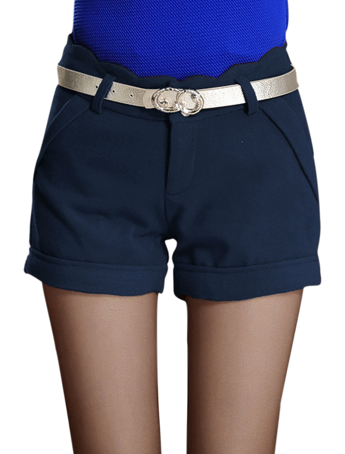 Ladies Navy Blue Scalloped Waist Mid Rise Hip Fake Pockets Short Pants M