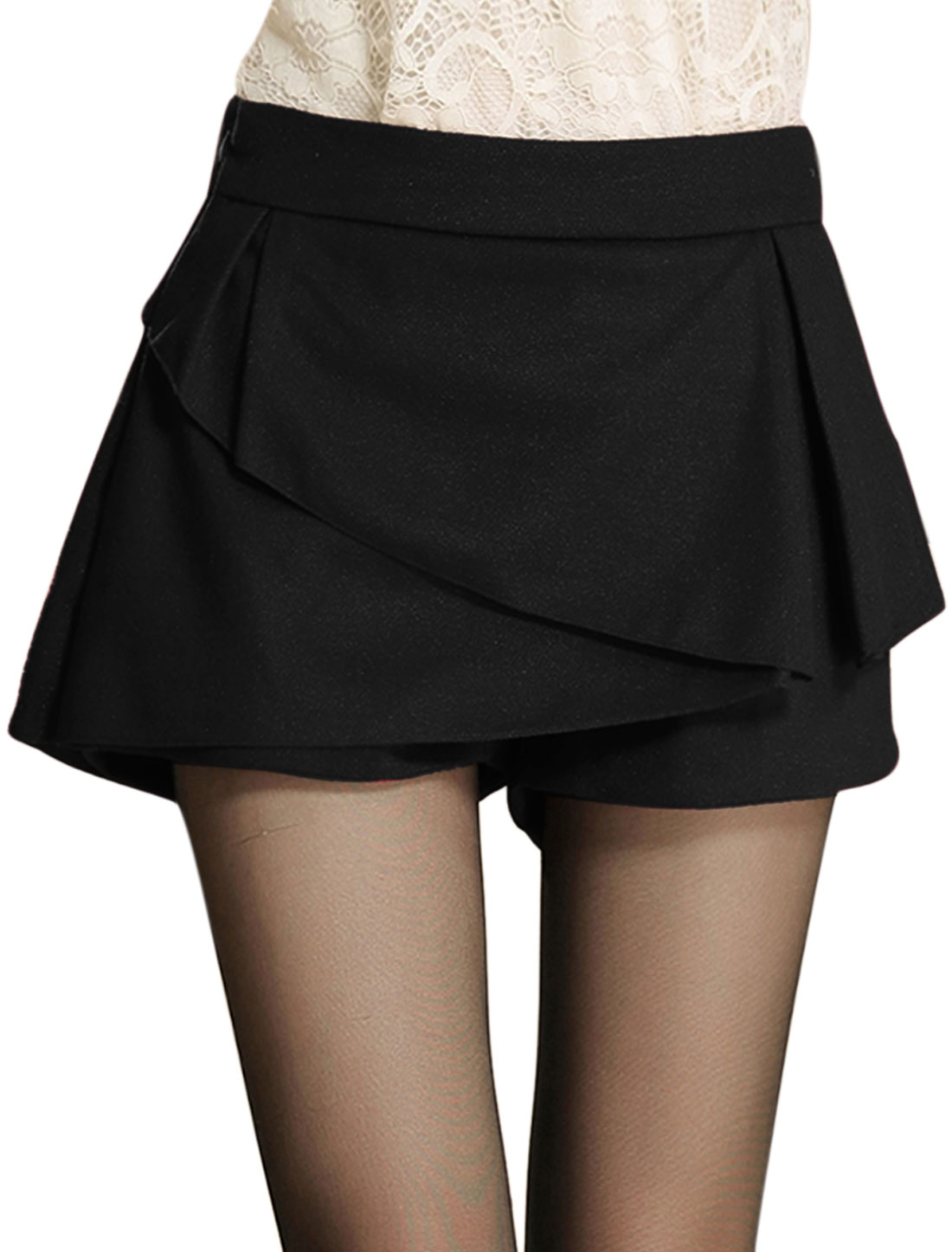 Women Zipper Side Natural Waist Stylish Skort Black L