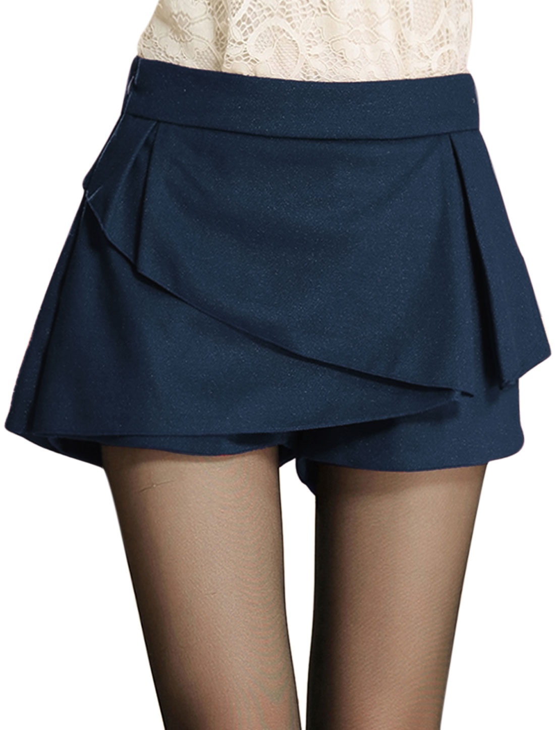 Women Natural Waist Single Zipper Side Skort Navy Blue L