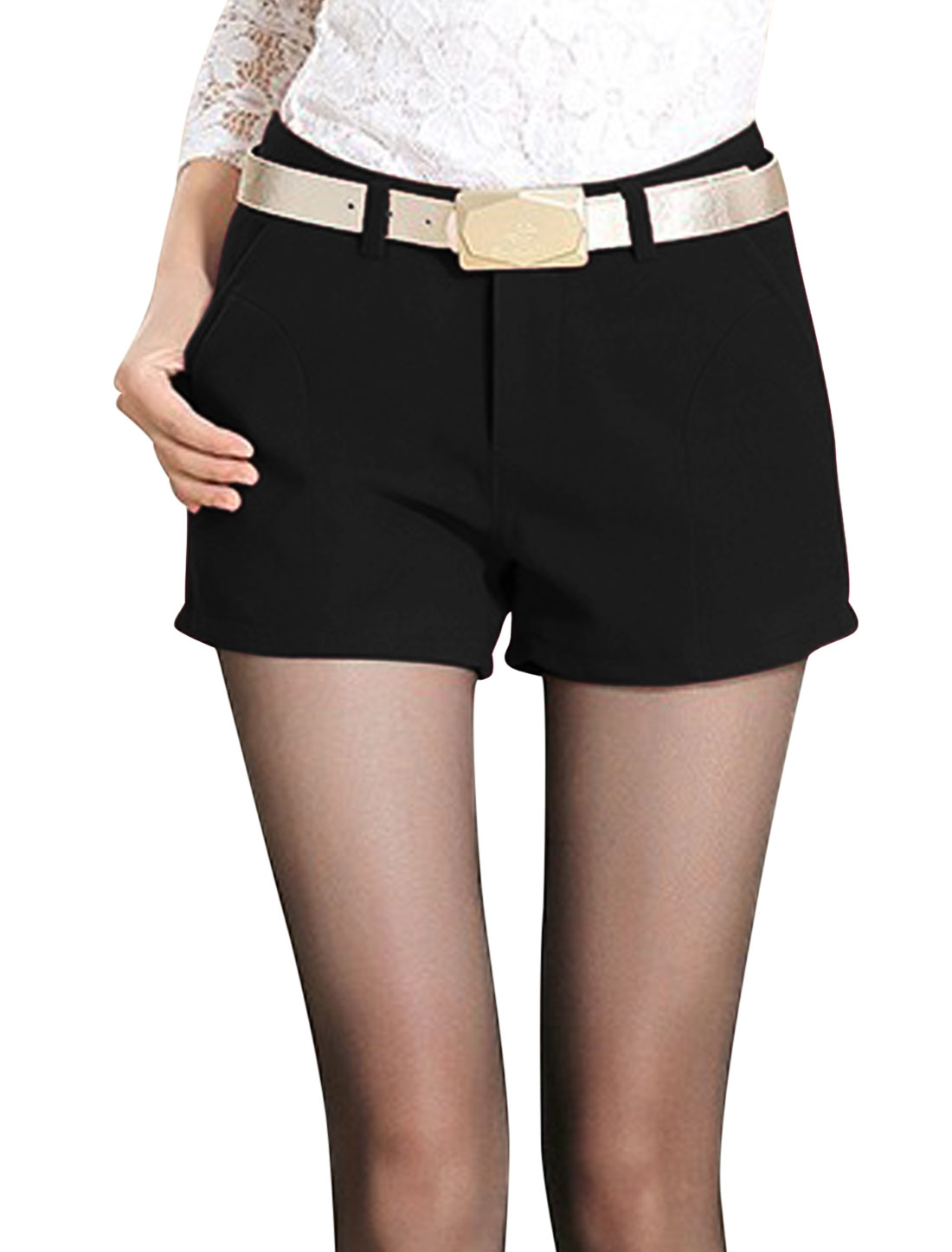Women Belt Loop Button Closure Zip Fly Slant Pockets Casual Shorts Black M