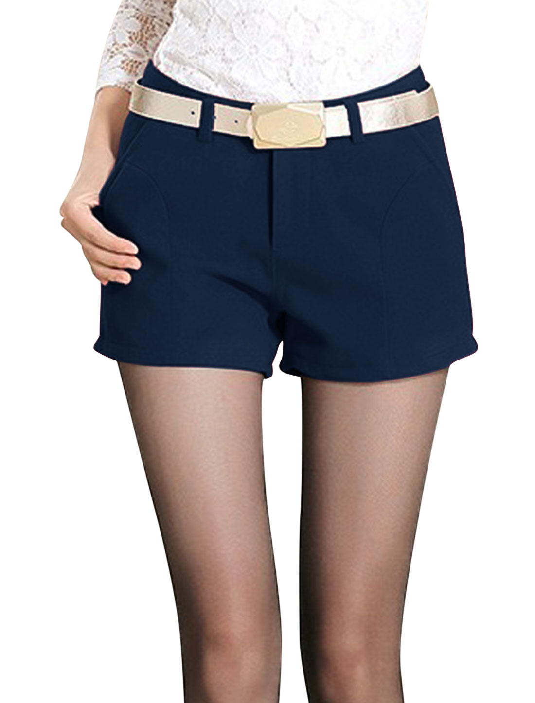 Women Button Closure Zip Fly Leisure Shorts Navy Blue M