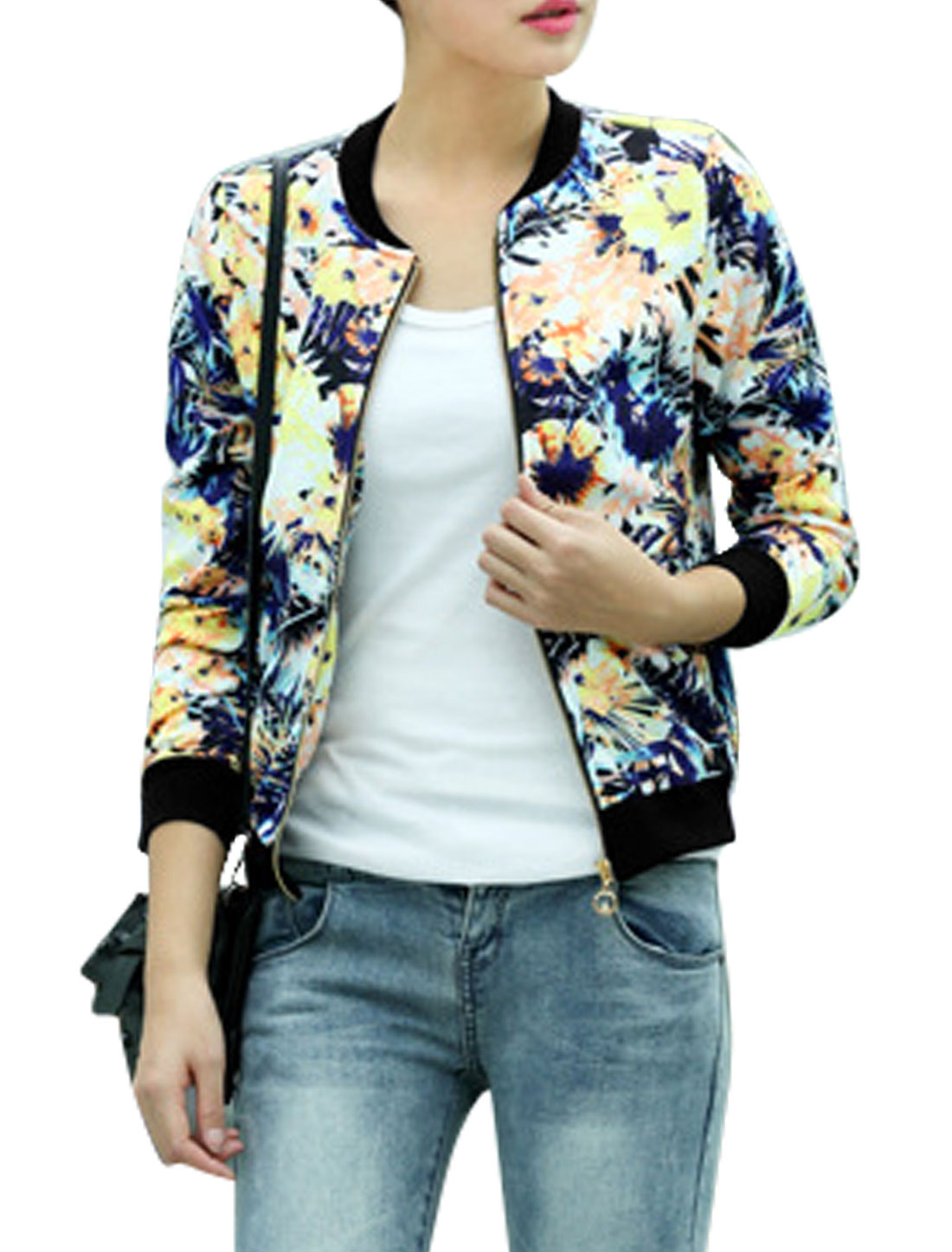 Women Stand Collar Long Sleeves Floral Prints Stylish Jacket Blue Yellow S