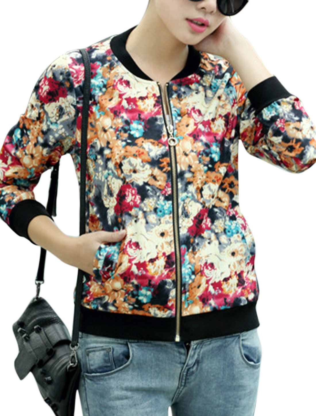 Ladies Stand Collar Floral Prints Zip Closure Fashion Jacket Multi Color S