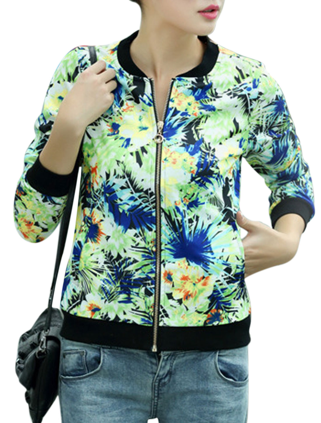 Women Stand Collar Zip Closure Long Sleeve Leisure Jacket Blue Green S
