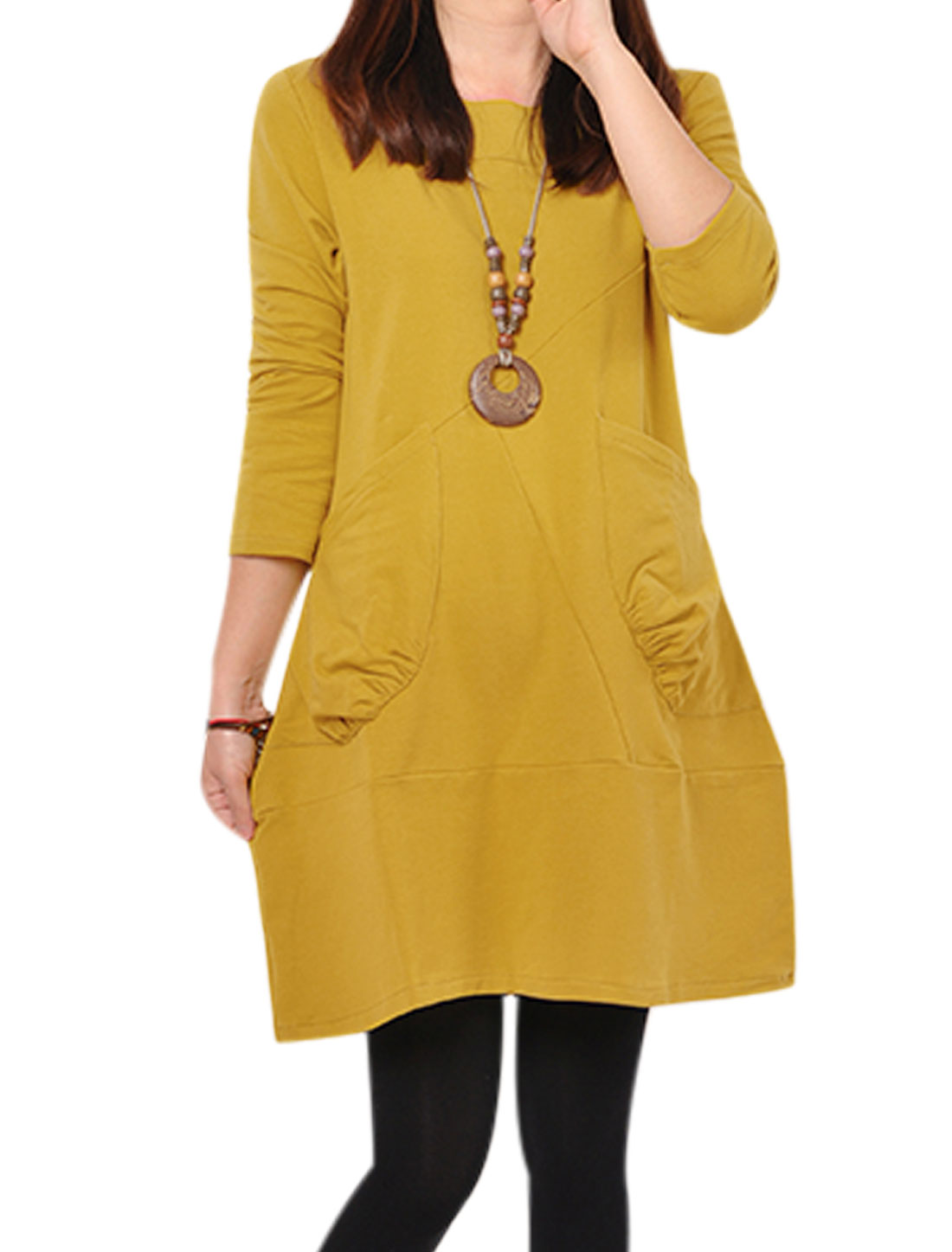 Women Double Pockets Spliced Design Round Neck Straight Dress Dark Yellow S