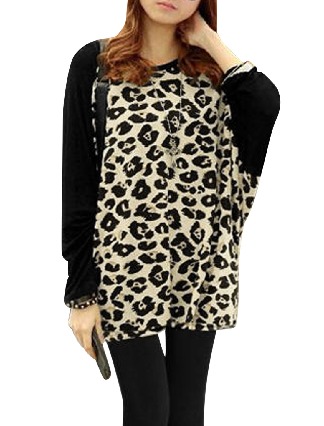 Women Leopard Prints Long Sleeve Round Neck Casual Tunic Blouse Black Beige XS