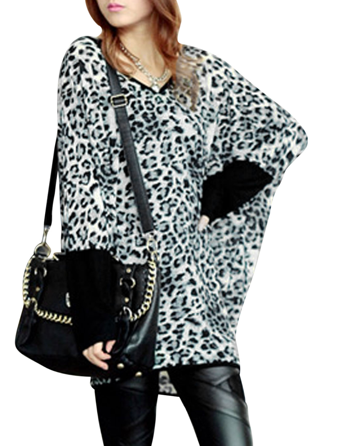 Women V Neck Leopard Prints Batwing Sleeve Casual Tunic Blouse Black Gray XS