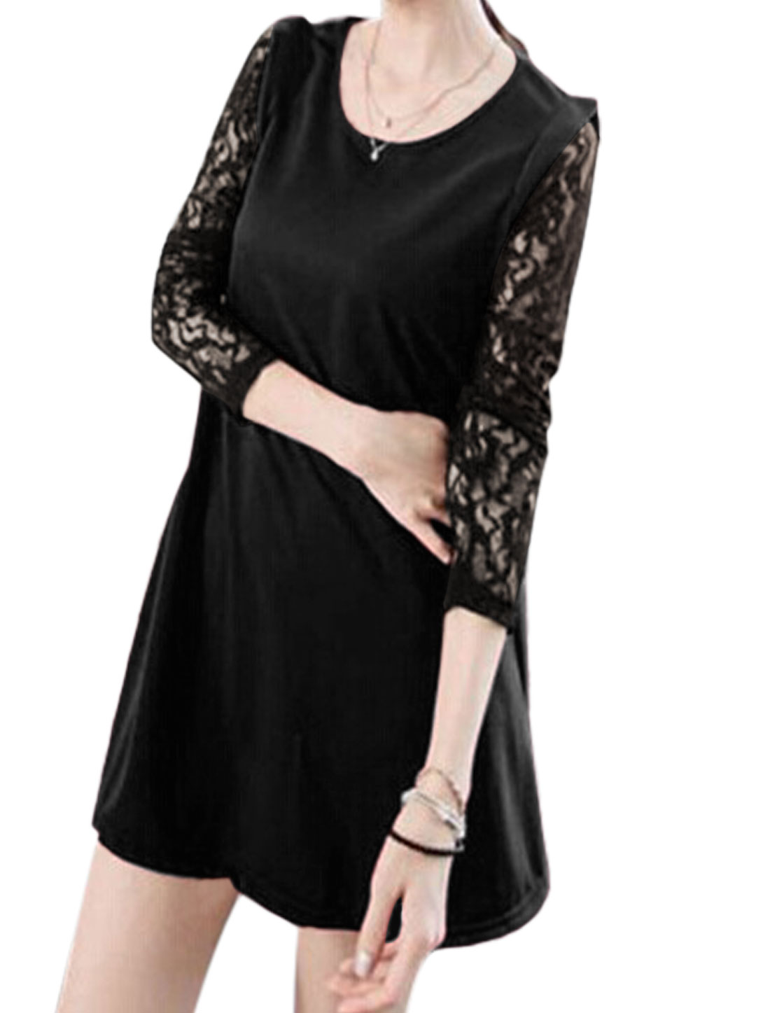 Ladies Black Lace Long Sleeves Round Neck Pullover Casual Straight Dress S