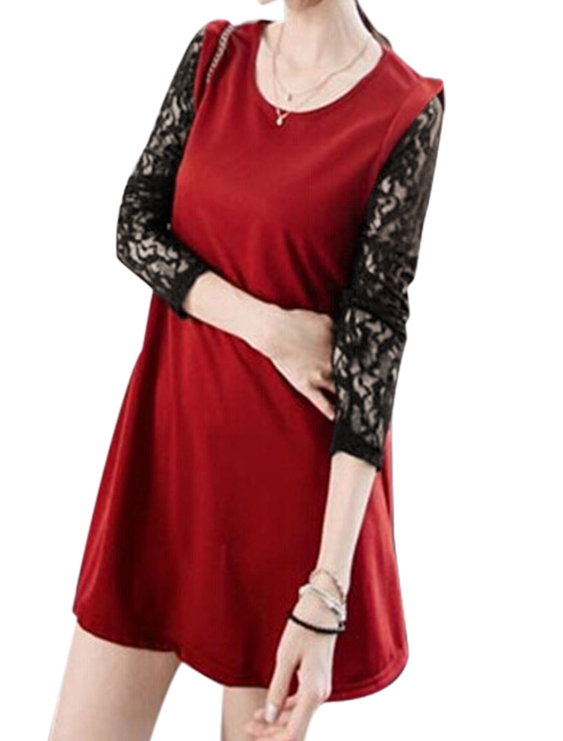 Ladies Red Lace Long Sleeves Round Neck Pullover Leisure Straight Dress S