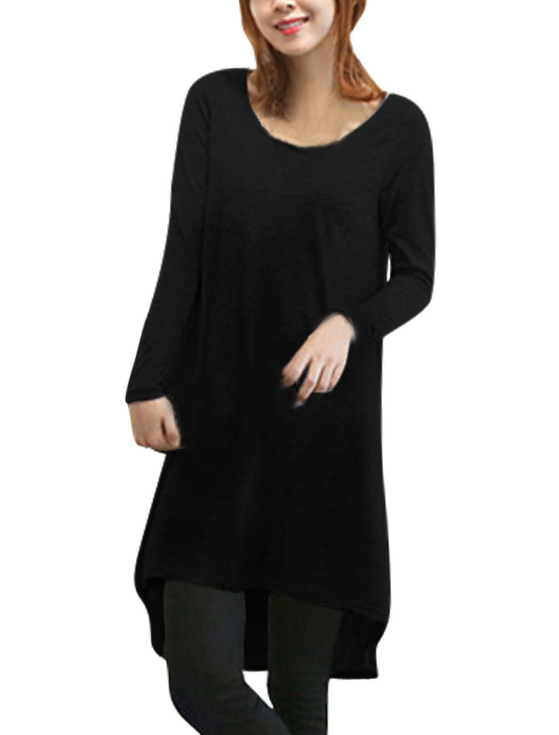 Lady Round Neck Cut Out V Design Back Casual Tunic Top Black XS