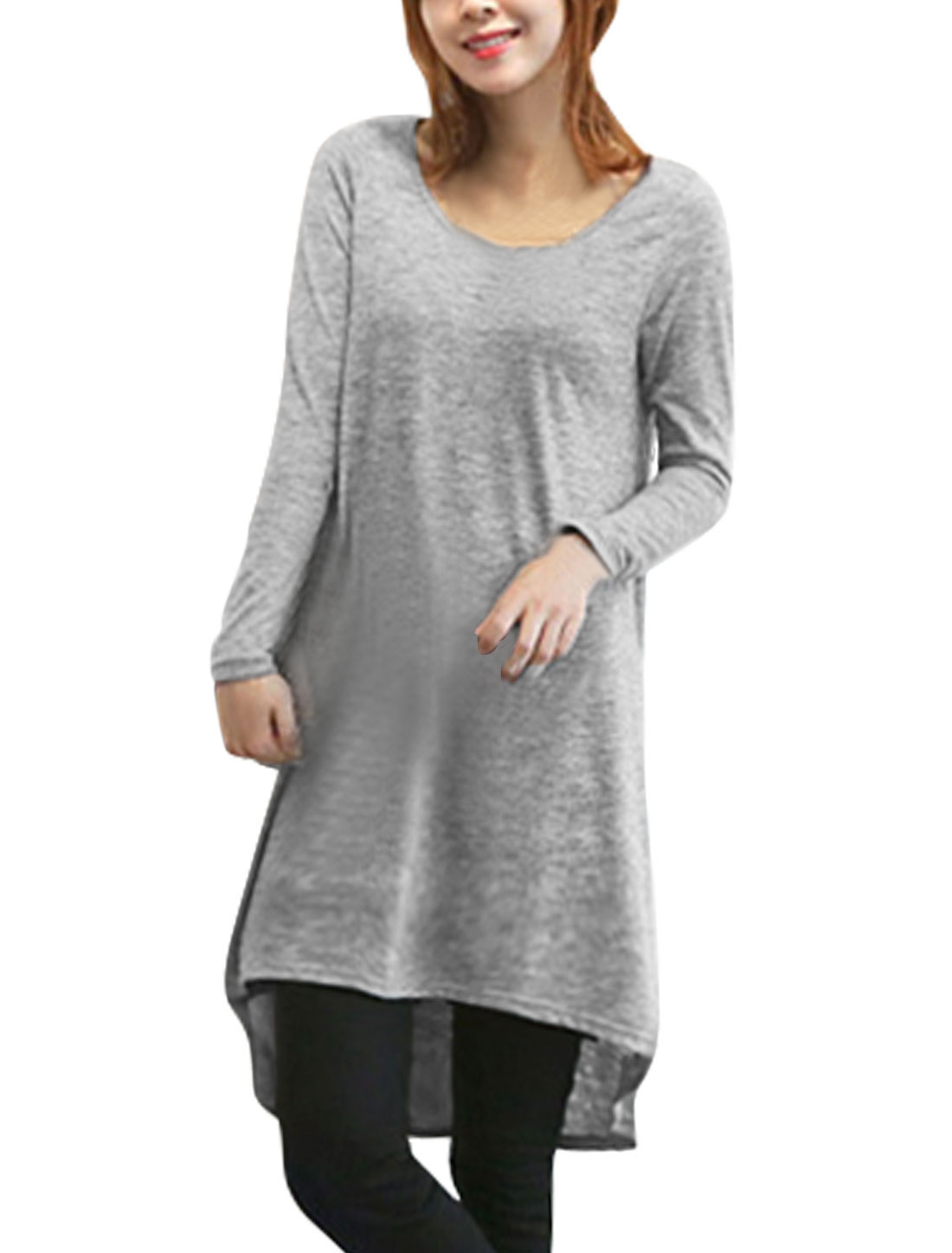 Loose Fit Fashion Low Hight Hem Pullover Tunic Top for Lady Light Gray XS