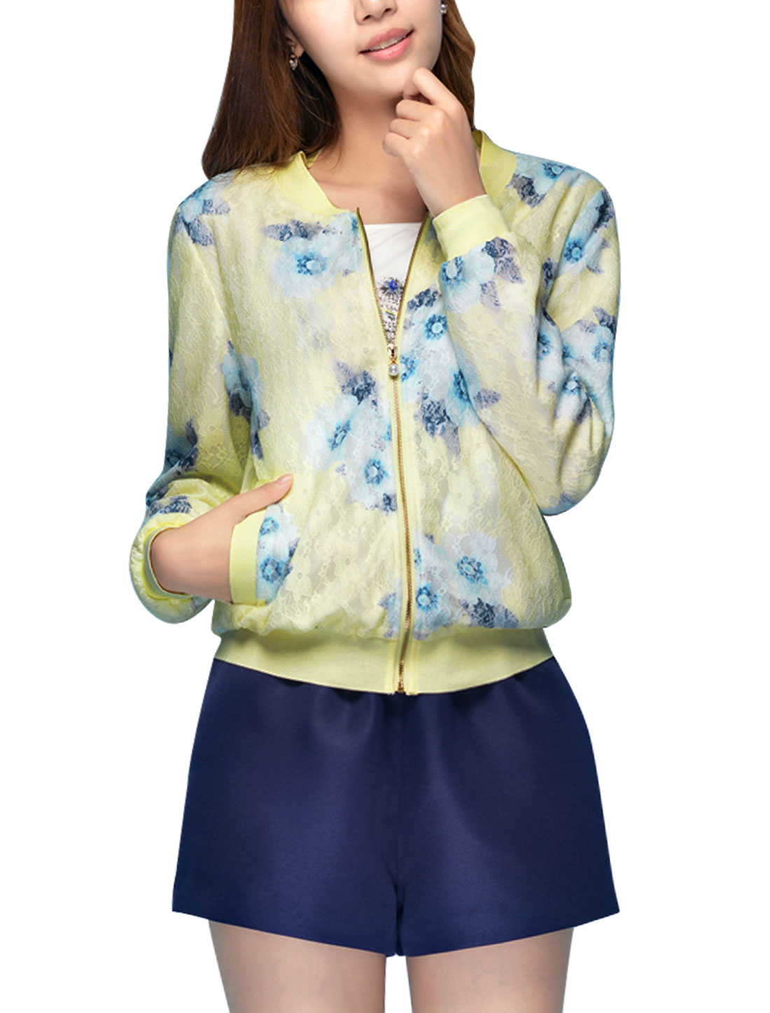 Women Stand Collar Long Sleeve Casual Jacket Light Yellow L