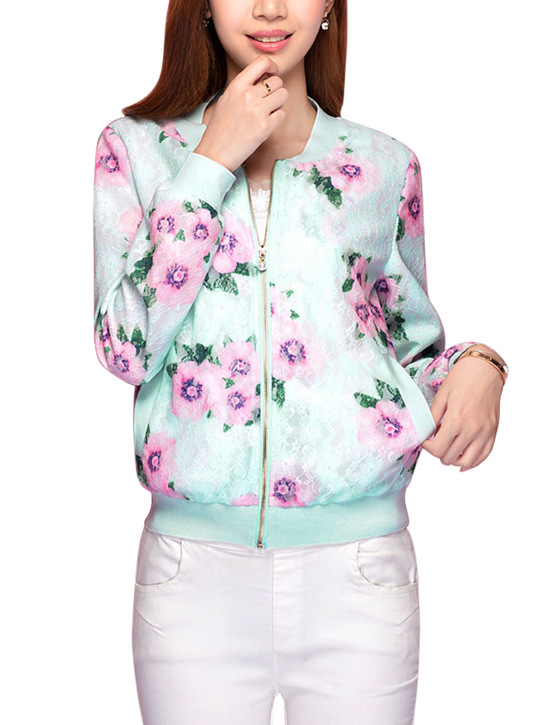 Women Stand Collar Zip Closure Long Sleeve Leisure Jacket Mint L