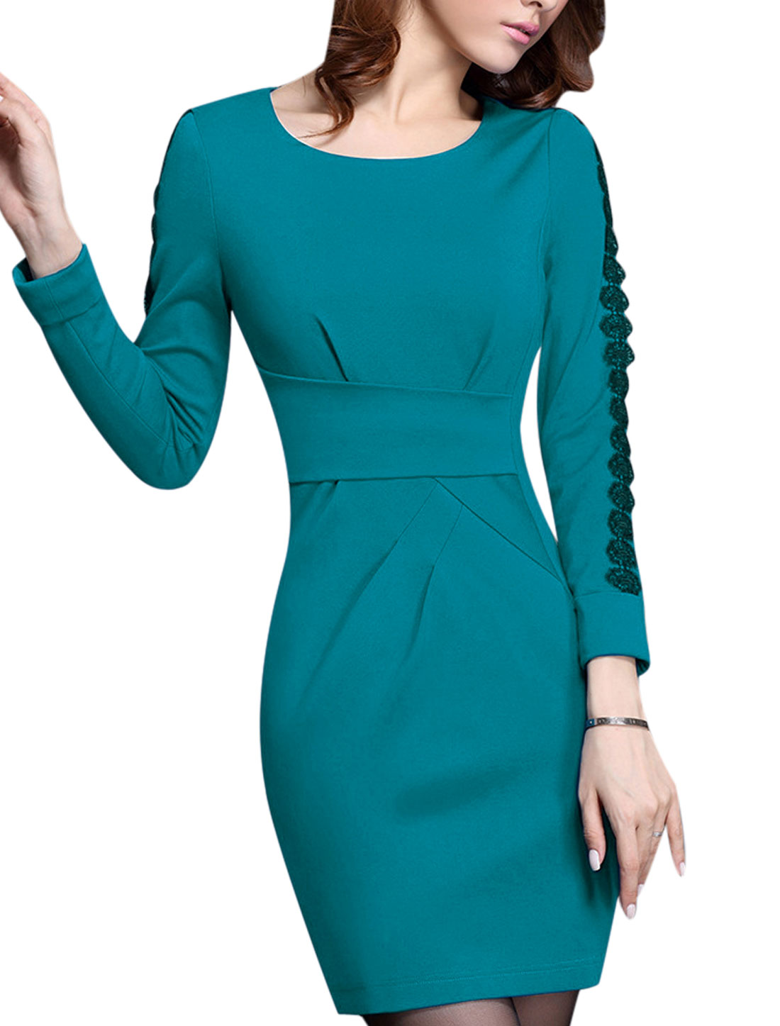 Women Crochet Panel Long Sleeve Hidden Zip Side Pencil Dress Turquoise M