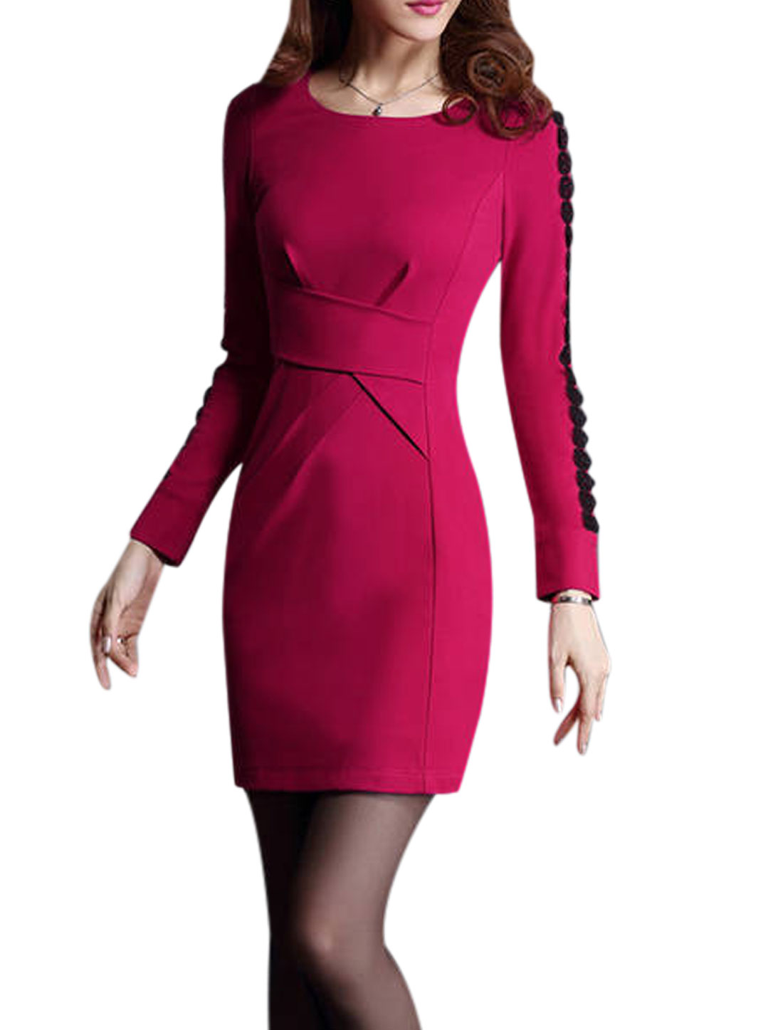 Lady Long Sleeve Conceal Zipper Side Pencil Dress Fuchsia M