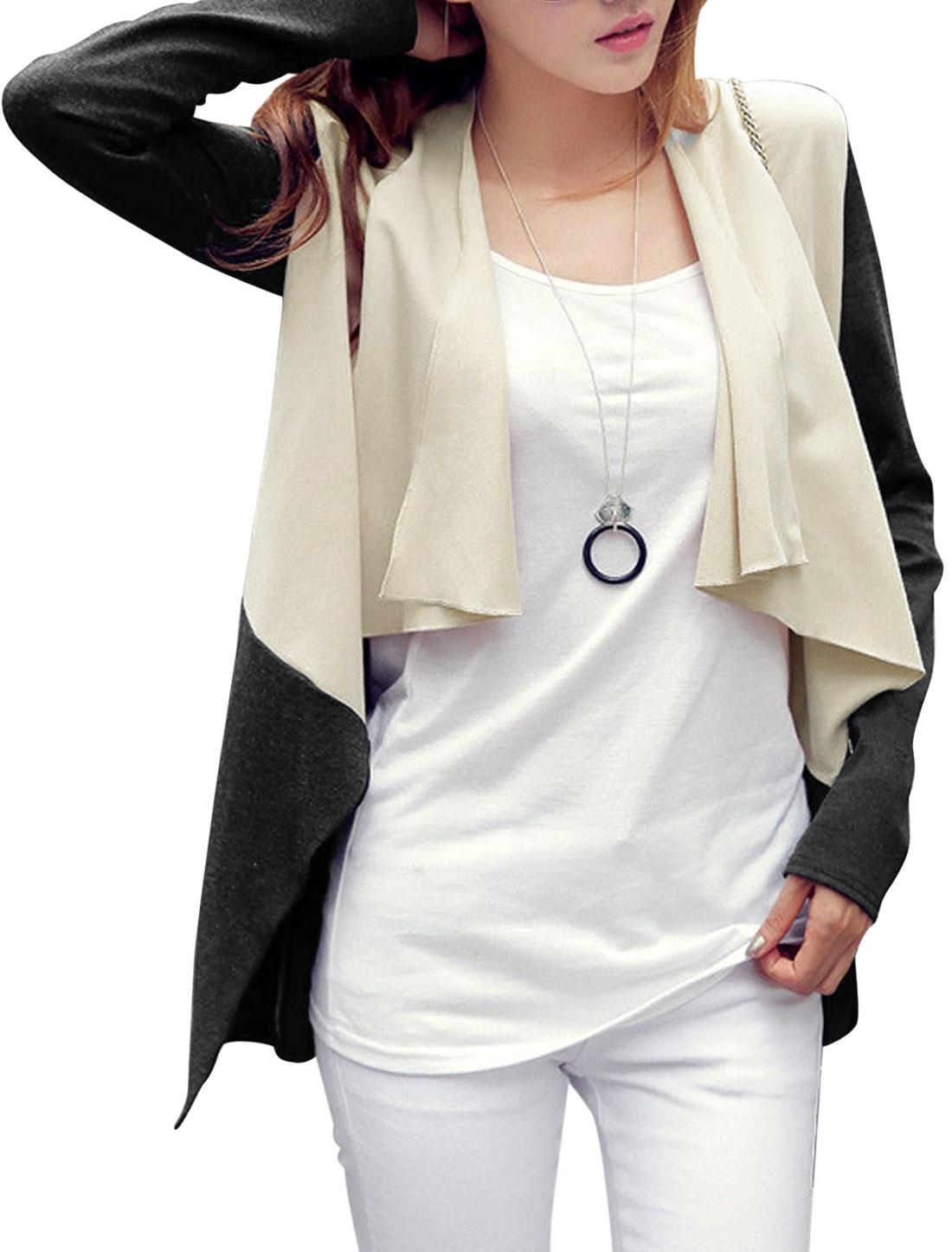 Women Ruffled Lapel Buttonless Chiffon Panel Fashion Light Jacket Beige Dark Gray S