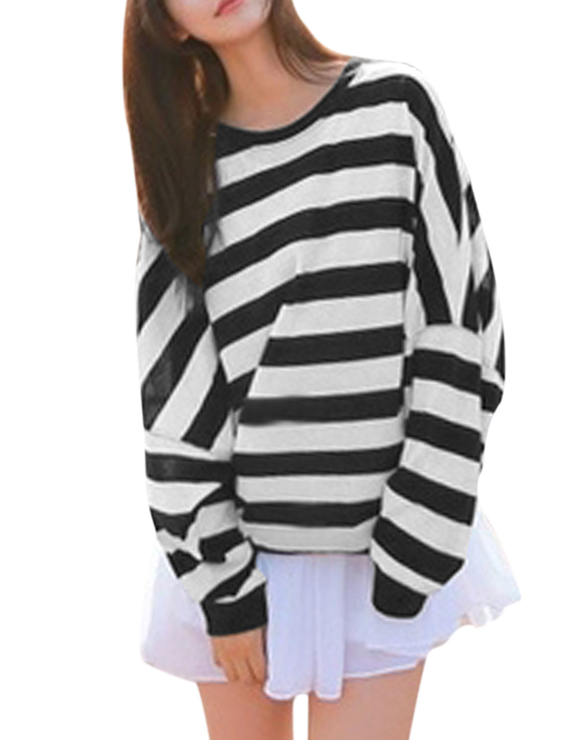 Women Round Neck Stripes Batwing Sleeve Leisure Tunic Top Black White S