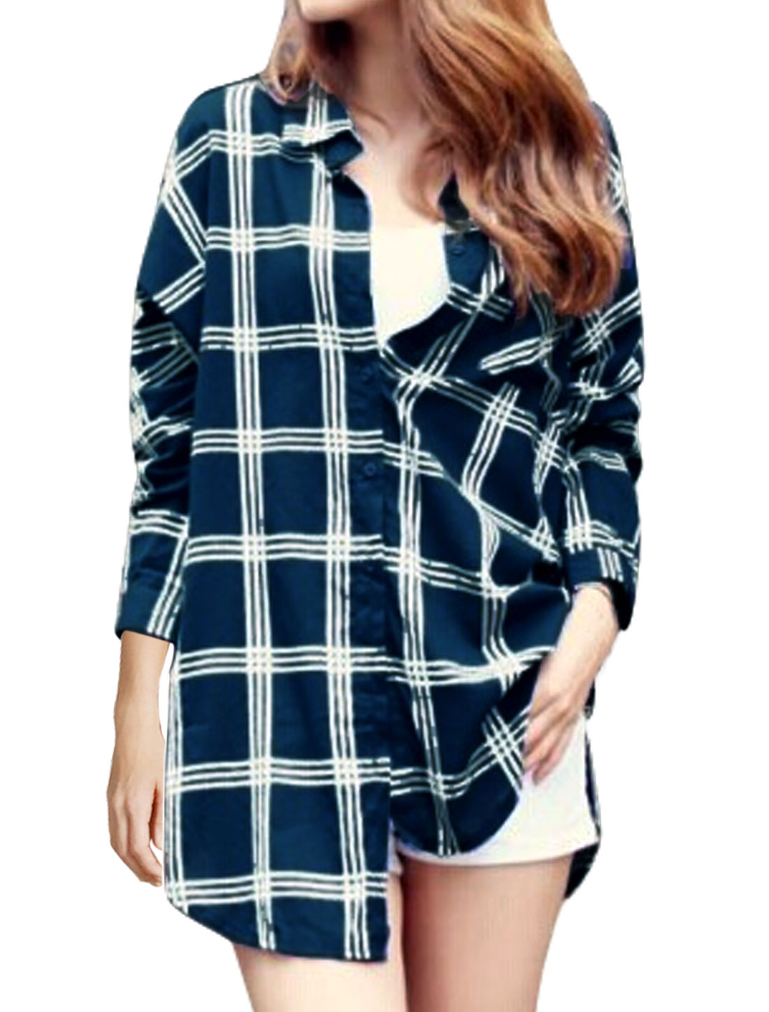 Lady Check Pattern Single Breasted Casual Tunic Shirt Navy Blue S