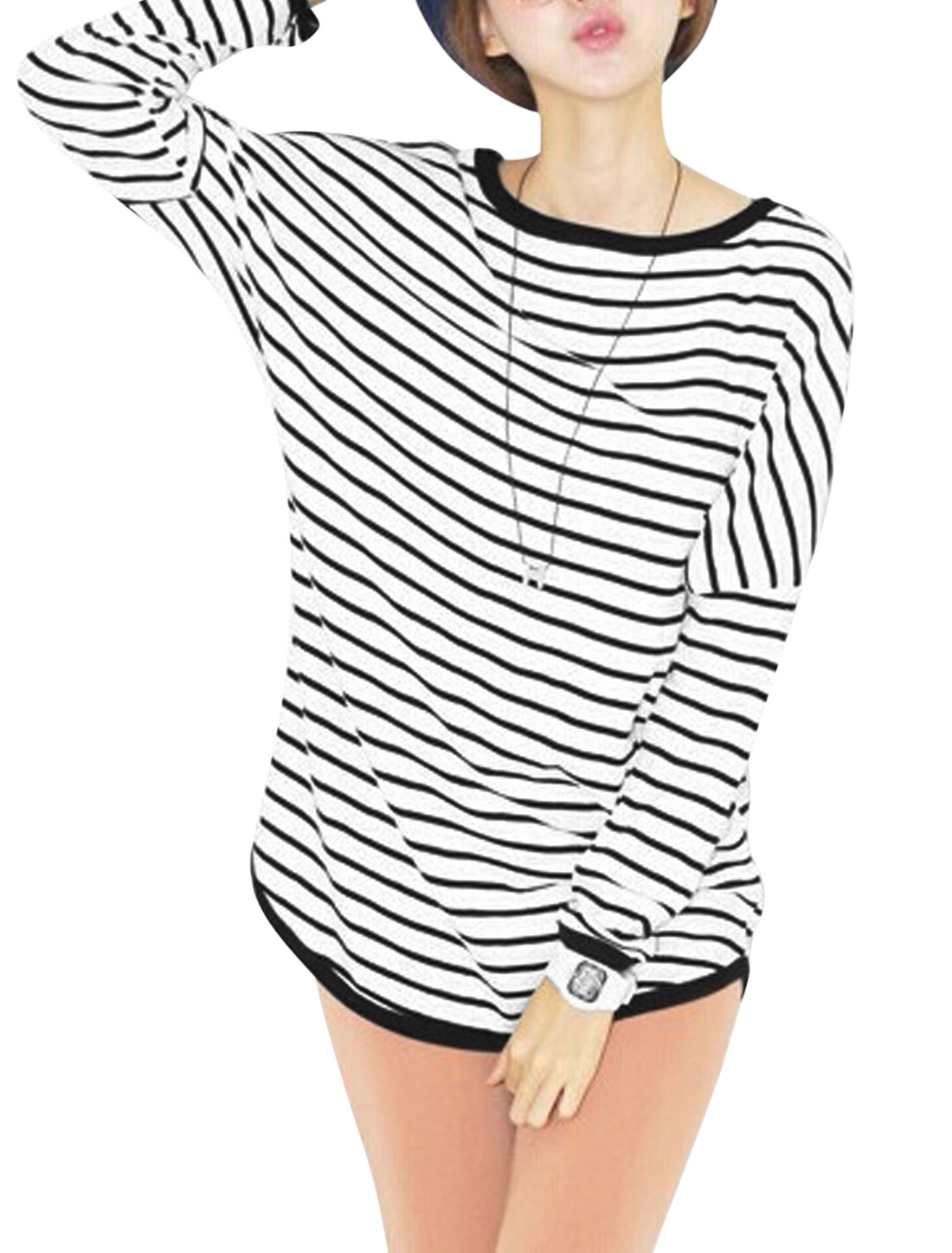 Lady Batwing Sleeve Stripes Pattern Casual Tunic Top White Black S