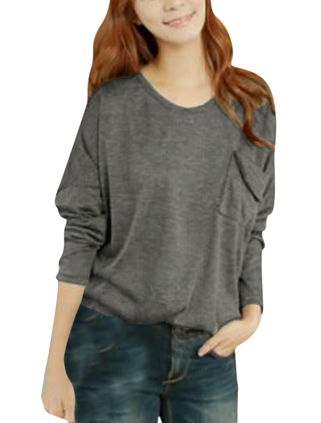 Lady Batwing Sleeve Mock Pocket Chest Soft Casual Blouse Dark Gray S