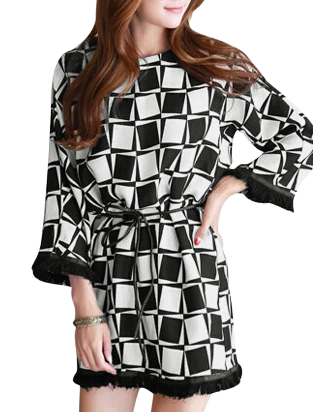 Women Plaids Round Neck 3/4 Sleeve Straight Dress w Waist String Black White S
