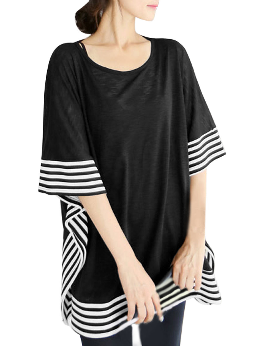 Women Cape Sleeves Stripes Detail Pullover Loose Tunic Blouse Black S
