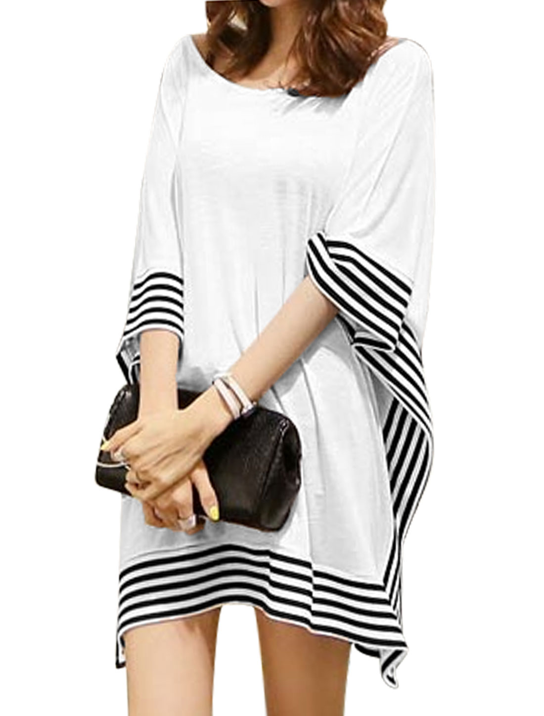 Women Cape Design Stripes Detail Loose Tunic Blouse White S