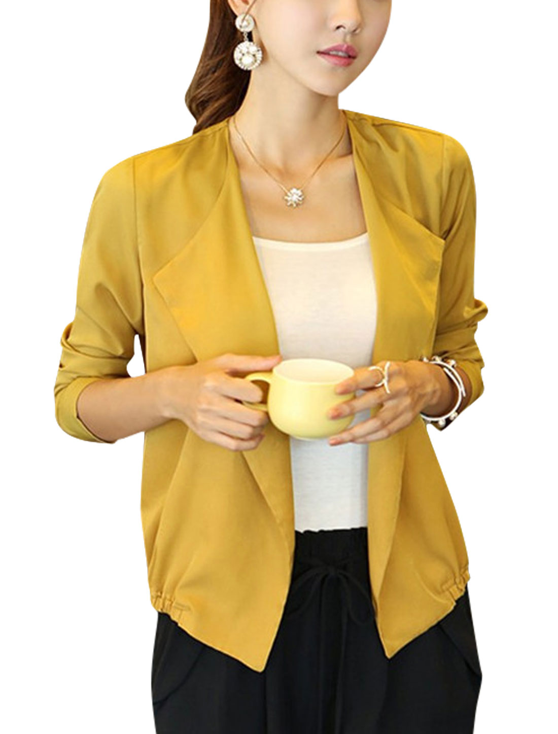 Women Long Sleeve Turn Down Collar Front Opening Jacket Ochre M