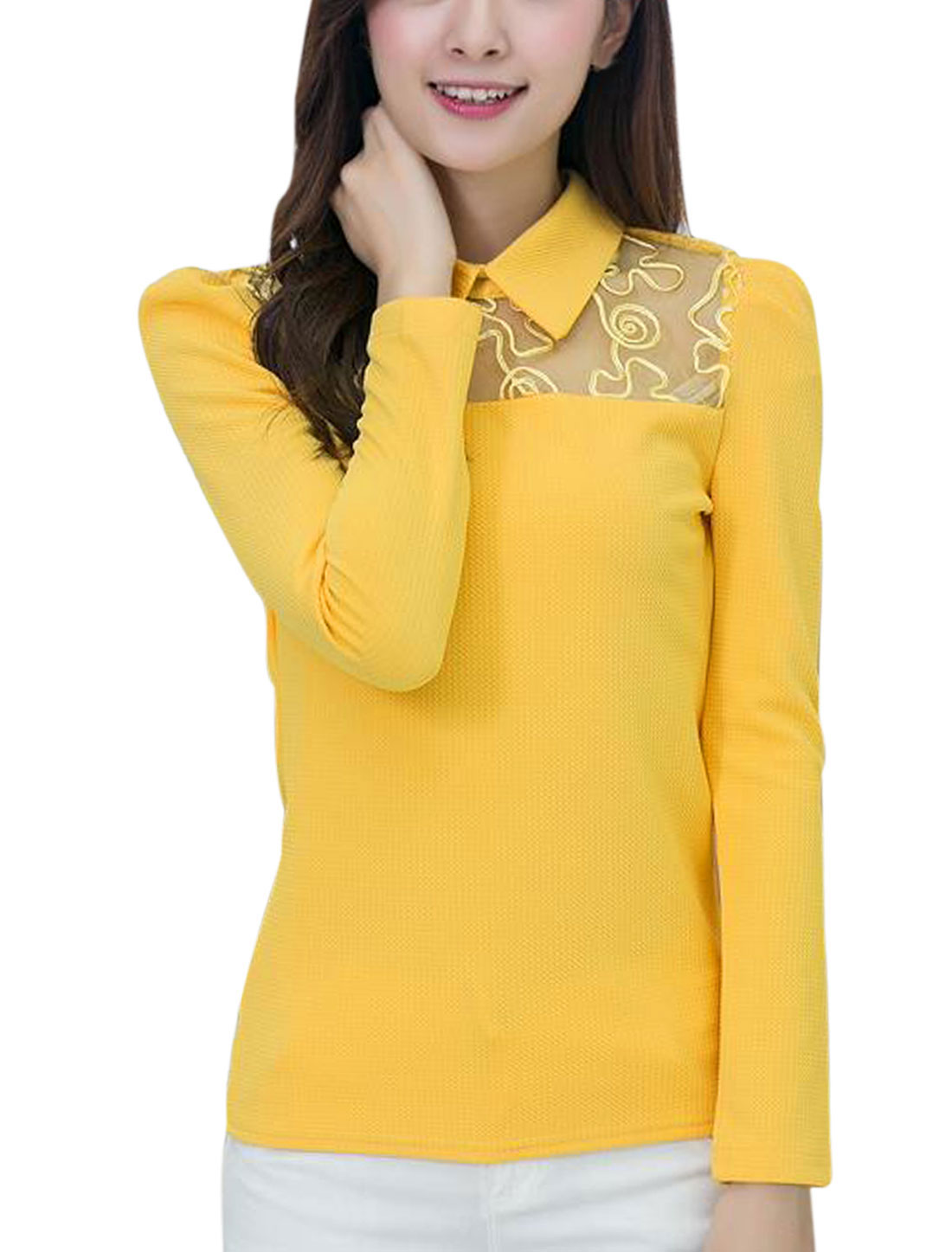 Women Point Collar Long Sleeve Mesh Panel Casual Shirt Yellow M