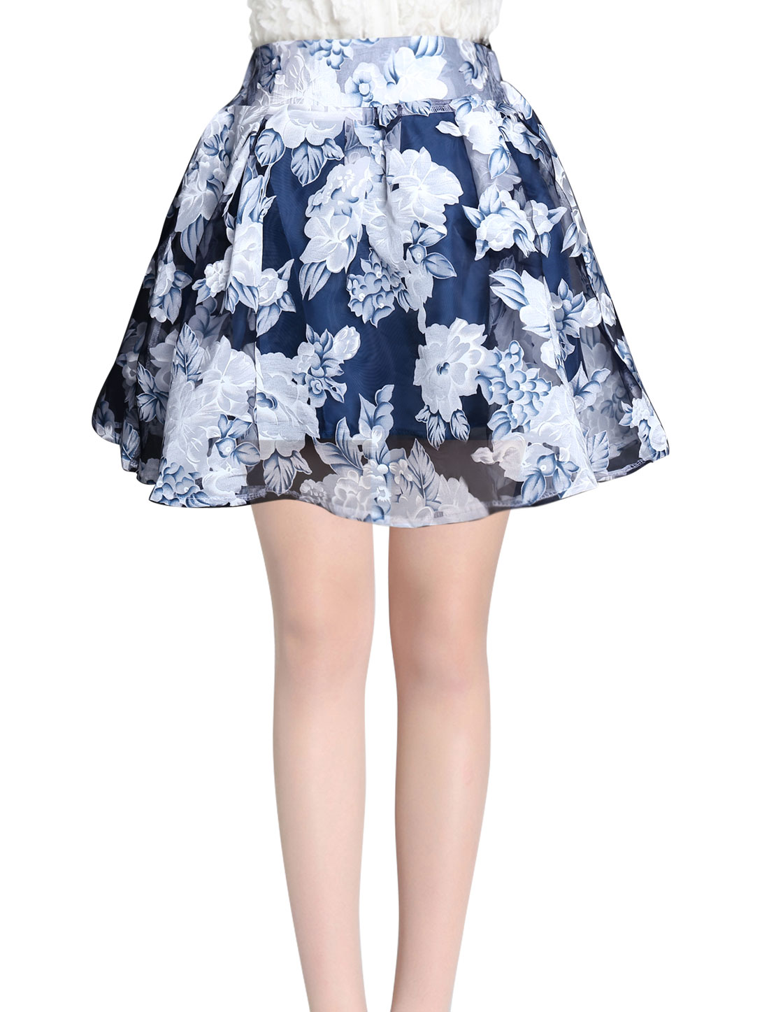 Womem Elatic Waist Floral Prints Fashion Design Mini Skirt Navy Blue M
