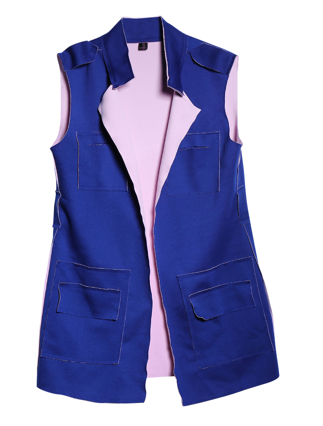 Women Stand Collar Ubound Seam Design Sleeveless Casual Long Vest Royal Blue XS