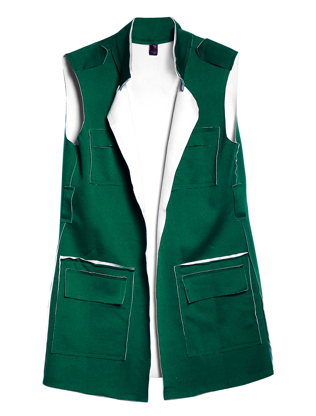 Women Stand Collar Front Opening Sleeveless Leisure Long Vest Dark Green XS