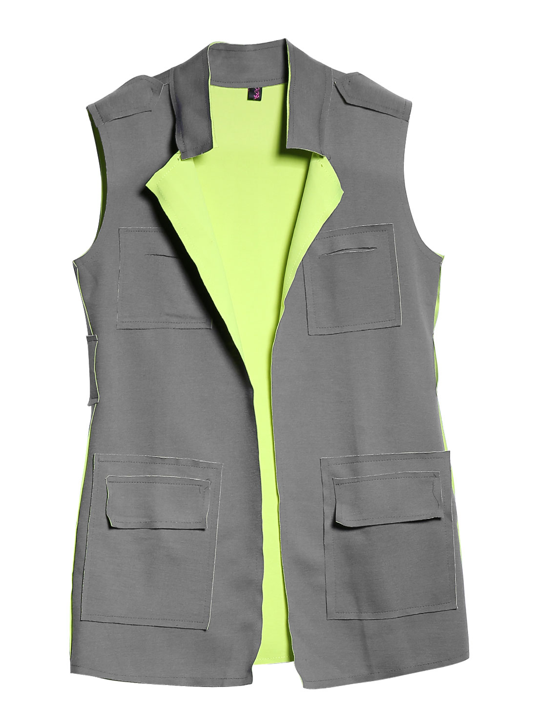 Women Front Opening Ubound Seam Design Sleeveless Casual Long Vest Warm Gray XS