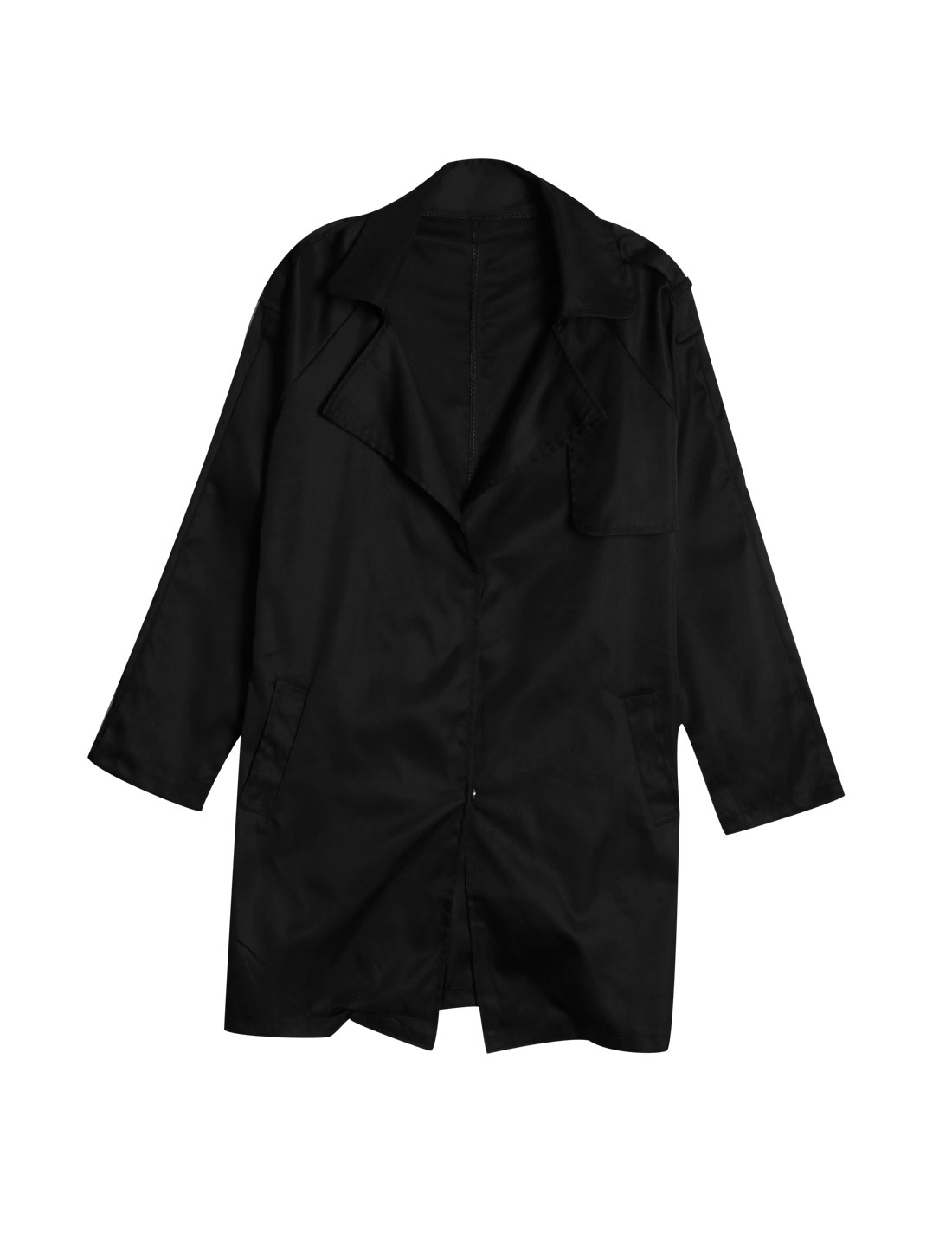 Women Hidden Single Breasted Double Slant Pockets Trench Coat Black M