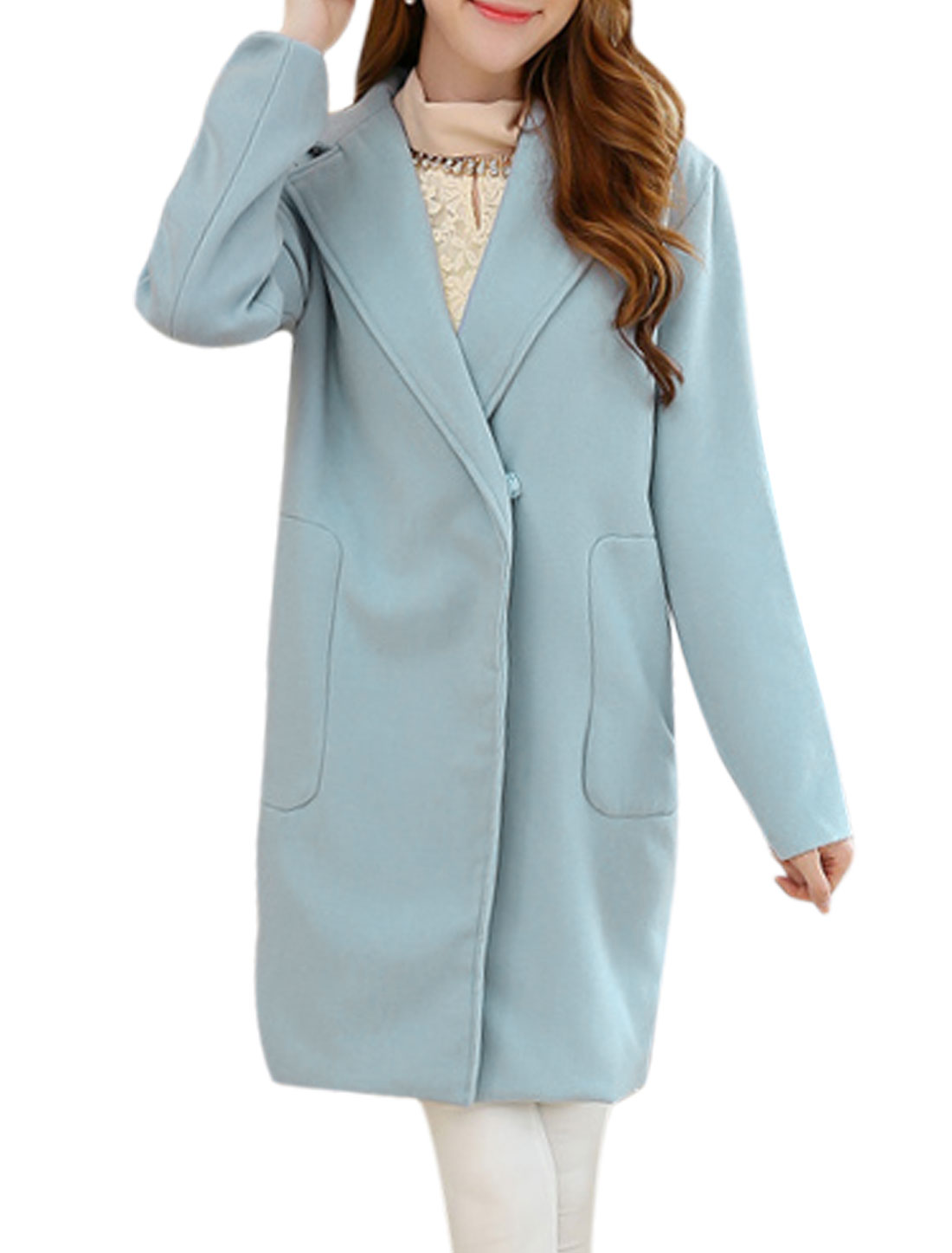 Lady Notched Lapel Patch Pockets One Snap Button Long Worsted Coat Light Blue M