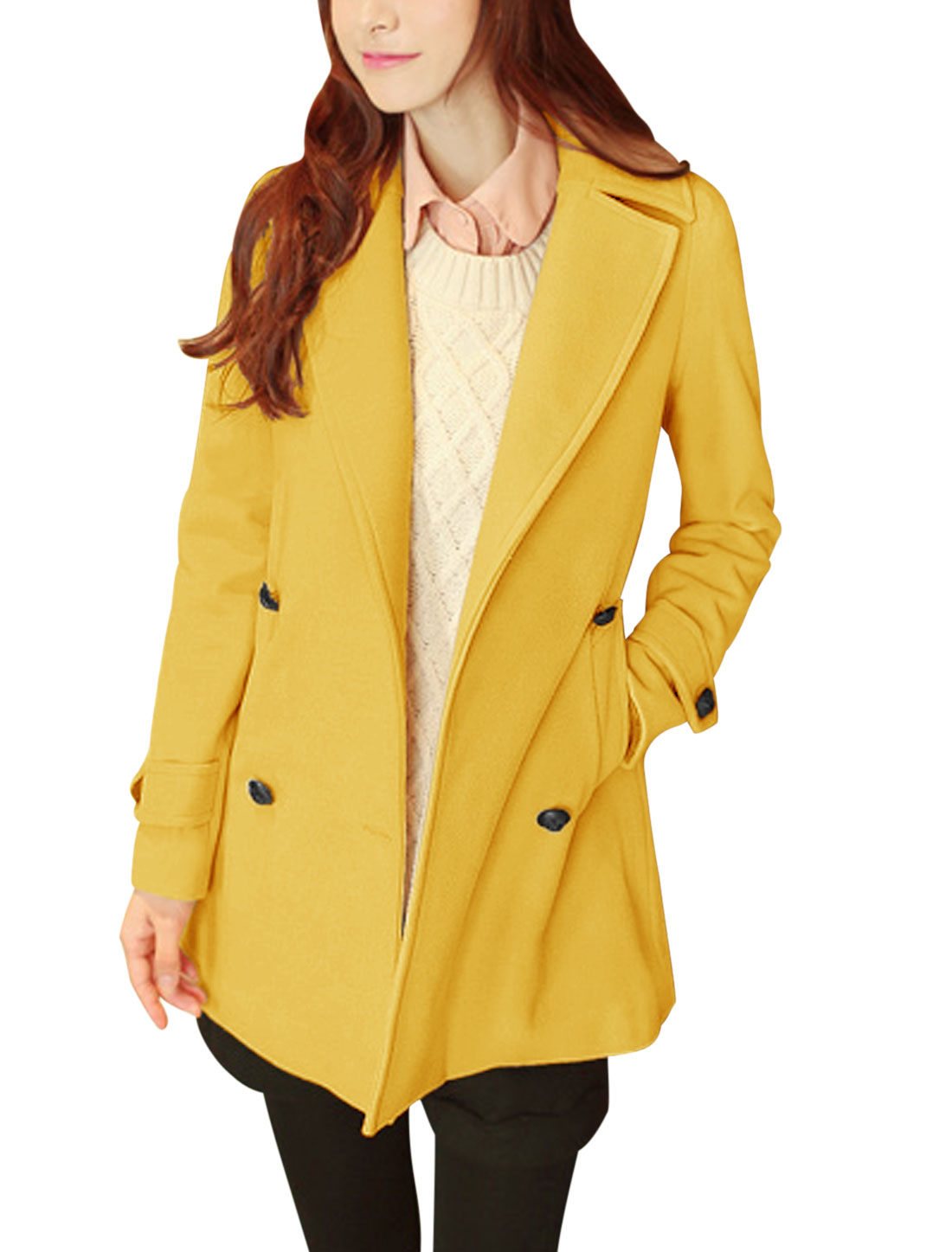Women Notched Lapel Long Sleeve Fashion Worsted Coat Yellow M