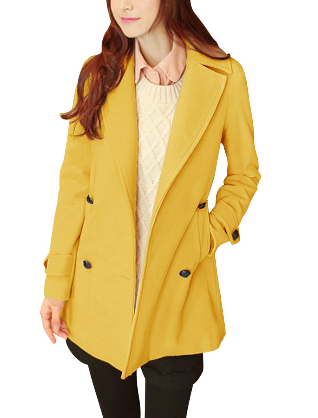 Women Notched Lapel Long Sleeve Fashion Worsted Coat Yellow M