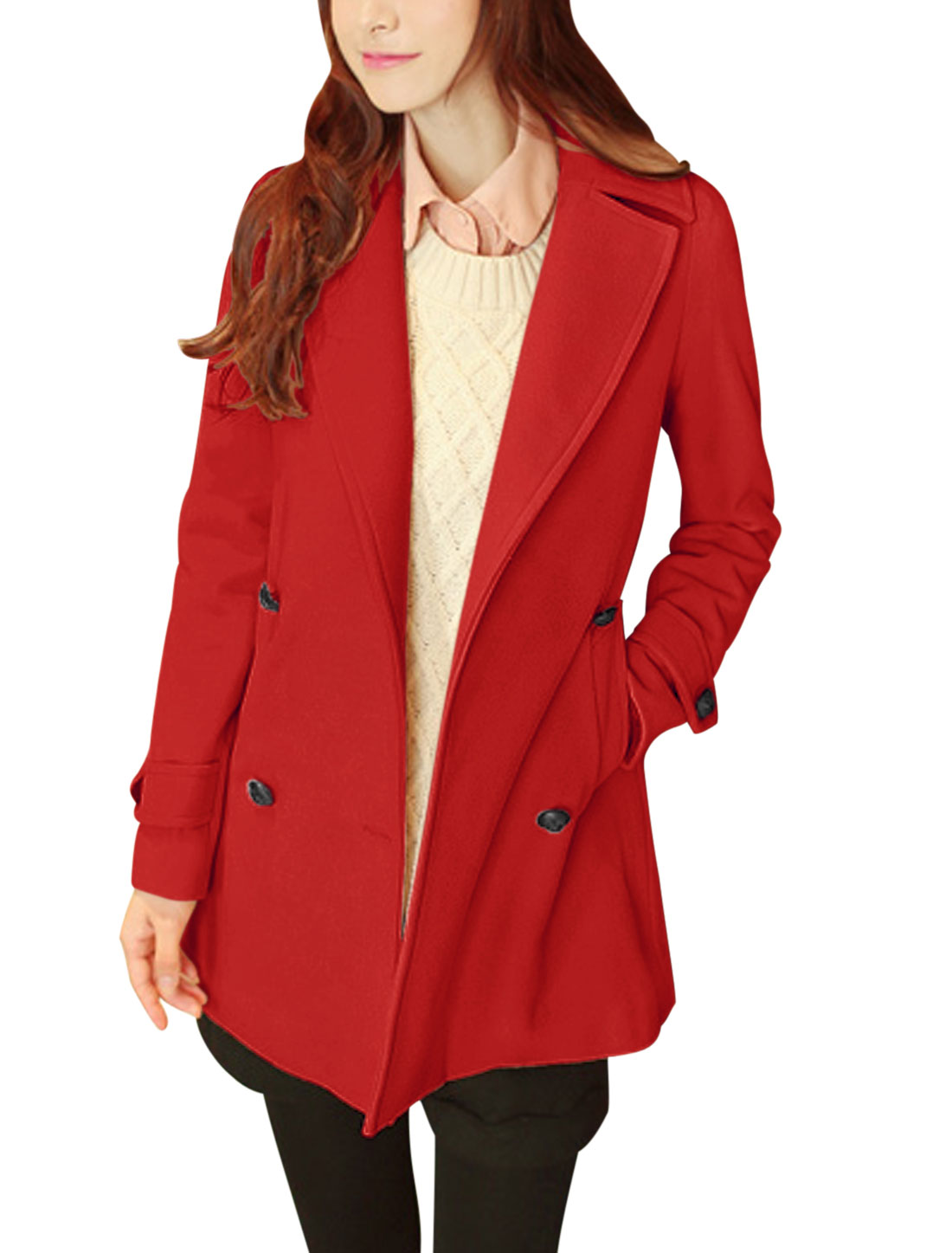 Women Notched Lapel Two Front Pockets Casual Worsted Coat Red M