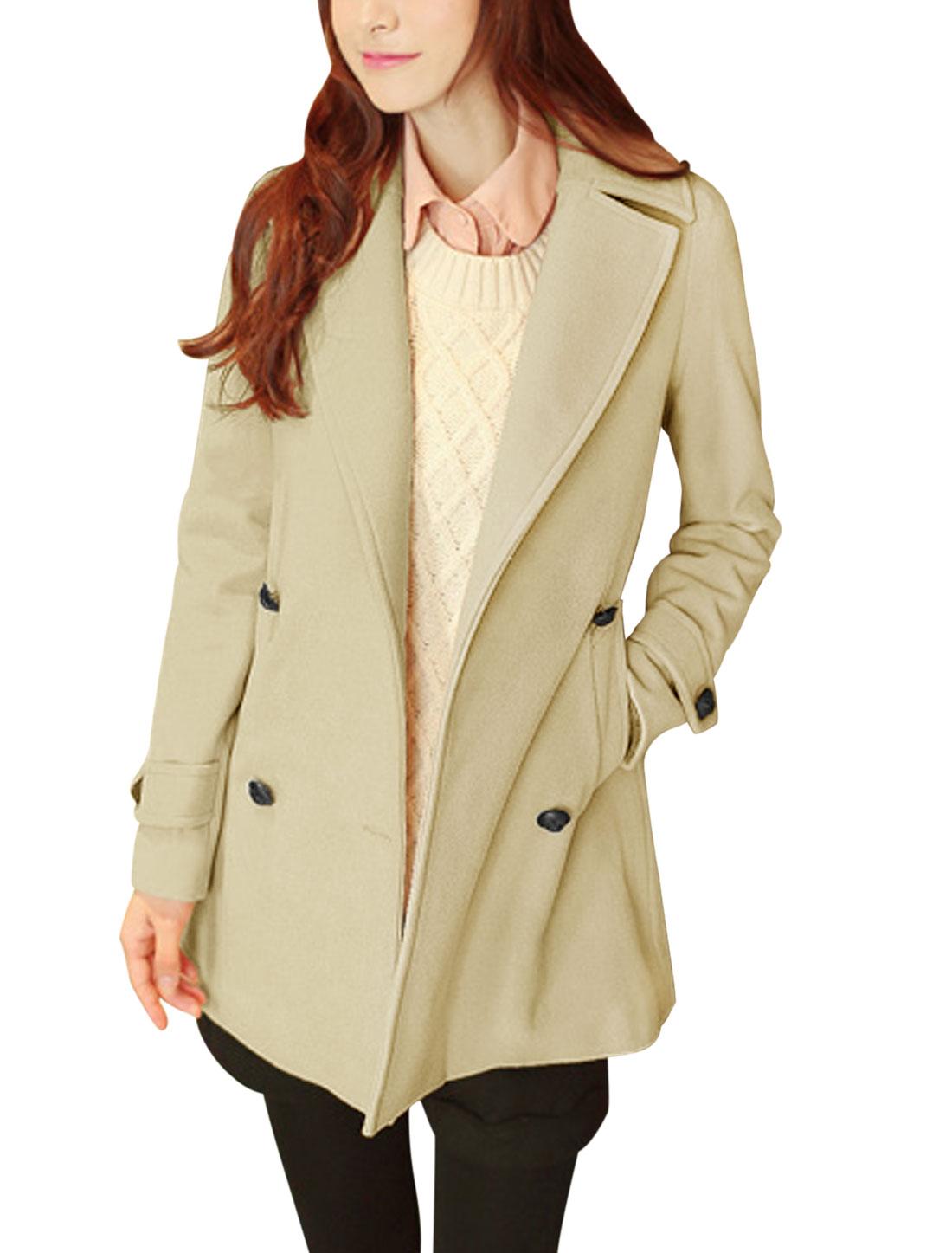 Women Notched Lapel Button Closure Stylish Worsted Coat Beige M